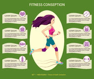 Young pretty running girl, fitness and health coseption, web des Stock Images