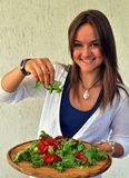 Young pretty Russian model with healthy food Stock Photography
