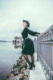 Young pretty sexy lady in black dress outdoor Royalty Free Stock Images