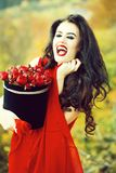 smiling girl with red roses royalty free stock photos