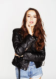 Young pretty sexy woman in leather jacket, lifestyle hipster girl. Close up Royalty Free Stock Images
