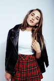 Young pretty sexy woman in leather jacket, lifestyle hipster girl posing isolated on white background, skinny modern. Beauty close up Royalty Free Stock Photos