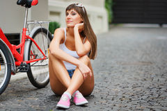 Young pretty sexy woman retro hipster style outdoor portrait Royalty Free Stock Photo