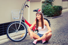 Young pretty sexy woman retro hipster style outdoor portrait Stock Images