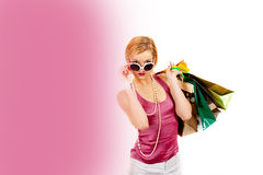 Young pretty shopping woman with lots of bags Stock Photo