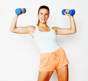Young pretty slim blond woman with dumbbell isolated cheerful sm Royalty Free Stock Images