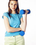 Young pretty slim blond woman with dumbbell isolated cheerful smiling, measuring herself, diet people concept on white Royalty Free Stock Images