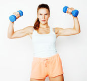 Young pretty slim blond woman with dumbbell isolated cheerful smiling, measuring herself, diet people concept on white Stock Image
