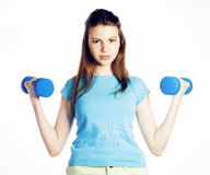 Young pretty slim woman with dumbbell isolated cheerful smiling, real sport girl next door, lifestyle people concept Stock Photos