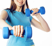 Young pretty slim woman with dumbbell isolated cheerful smiling, real sport girl next door, lifestyle people concept Stock Images