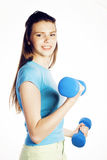 Young pretty slim woman with dumbbell isolated cheerful smiling, real sport girl next door, lifestyle people concept Stock Photography