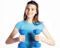 Young pretty slim woman with dumbbell isolated cheerful smiling, real sport girl next door, lifestyle people concept Stock Photo