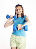 Young pretty slim woman with dumbbell isolated cheerful smiling, real sport girl next door, lifestyle people concept Stock Image