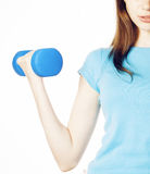 Young pretty slim womans hand with dumbbell isolated, real sport girl next door, lifestyle people concept Royalty Free Stock Photo