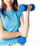 Young pretty slim womans hand with dumbbell , real sport girl next door, lifestyle people concept Stock Image