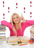 Young Pretty Smart Woman With Lots Of Books Stock Photos