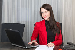 Young pretty smiling business woman Royalty Free Stock Images