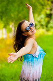 Young pretty smiling woman enjoying Stock Image