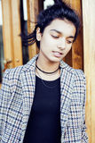 Young pretty student teenage indian girl in doors happy smiling, having fun, lifestyle people concept Royalty Free Stock Photos