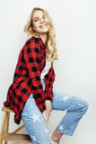 Young pretty stylish hipster teen girl posing emotional isolated on white background happy smiling cool smile, lifestyle Royalty Free Stock Photography