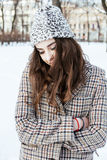 Young pretty stylish modern hipster girl outside on street, fash Royalty Free Stock Photos