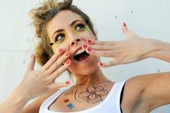 Young pretty surprised portrait Stock Photo