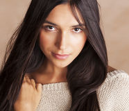 Young pretty tanned girl close up portrait smiling Stock Images