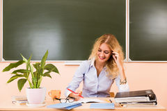 Young pretty teacher checking the tests. Royalty Free Stock Images