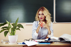 Young pretty teacher resting Stock Image