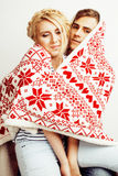 Young pretty teenage couple, hipster guy with his girlfriend happy smiling and hugging isolated on white background Stock Photo