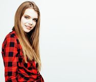 Young pretty teenage hipster girl posing emotional happy smiling Royalty Free Stock Photos