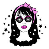 Young pretty teenager girl in hypnotic glasses with pink bow Royalty Free Stock Images