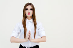 Young pretty thoughtful business woman meditating Stock Image