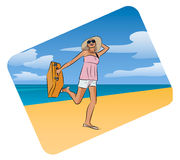 Young pretty traveller with a suitcase on the beach background. Young pretty happy woman traveller with a suitcase on the sunny beach background, vector cartoon Stock Photo