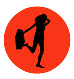 Young pretty traveller with a suitcase icon. Young pretty traveller with a suitcase vector icon, sign or emblem Royalty Free Stock Photography
