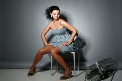 Young pretty woman. Posing in studio stock image