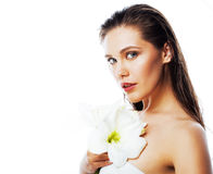 Young pretty woman with  Amarilis flower close up isolated on wh Royalty Free Stock Photo