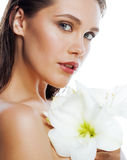 Young pretty woman with  Amarilis flower close up Royalty Free Stock Image