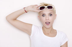 Young pretty woman with beautiful blond hairs Royalty Free Stock Images