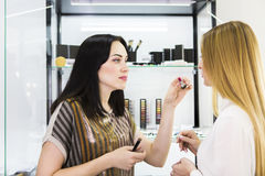 Young pretty woman and beauty consultant in shop Royalty Free Stock Image