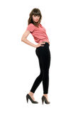 Young pretty woman in a black leggings. Isolated Royalty Free Stock Photos