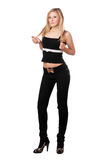 Young pretty woman in black pants. Isolated Stock Image
