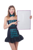 Young pretty woman with blank board Stock Photography
