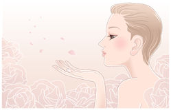 Young Pretty Woman Blowing On Petals Of Roses Royalty Free Stock Images