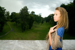 A Young Pretty Woman In A Blue Dress Royalty Free Stock Image