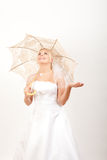 Young pretty woman bride with lace umbrella Royalty Free Stock Images