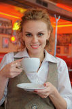 Young pretty woman with cup Stock Photo