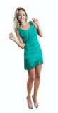 Young pretty woman dancing in dress with fringe stock image