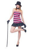 Young pretty woman dancing with walking stick isolated Stock Image