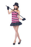 Young pretty woman dancing with walking stick isolated Stock Photography